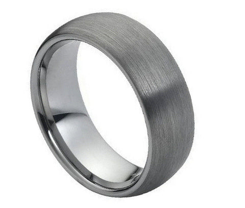 8mm Tungsten Ring Domed Classic Style Band with Brushed Center