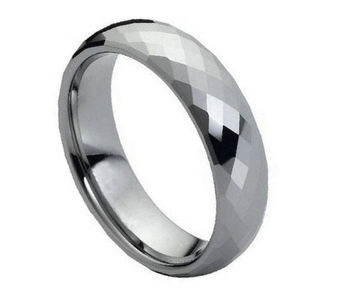6mm Tungsten Wedding Band Faceted Domed Shaped Ring