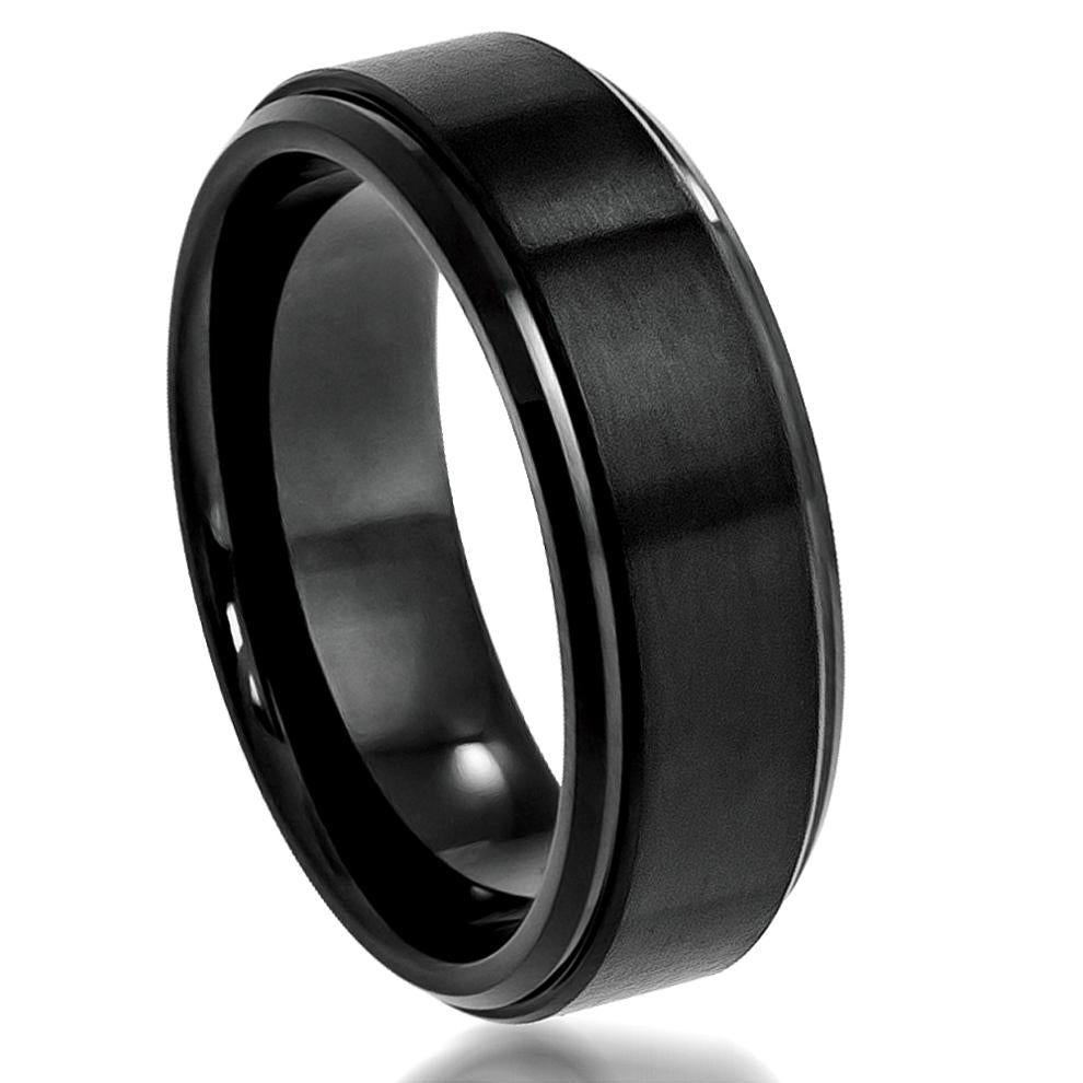 8mm Flat Black Tungsten Ring Flat Brushed Center with High Polish Stepped Edge