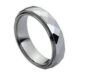 6mm Tungsten Wedding Band Domed Faceted Ring with Stepped Edge