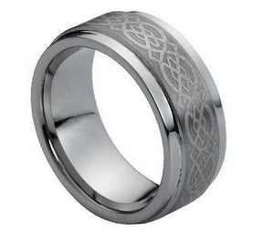 9mm Tungsten Ring Brushed Center Laser Engraved Celtic Pattern