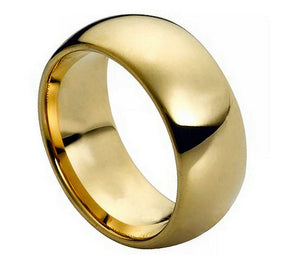 9mm Tungsten Ring Domed Gold-Plated Polished Shiny