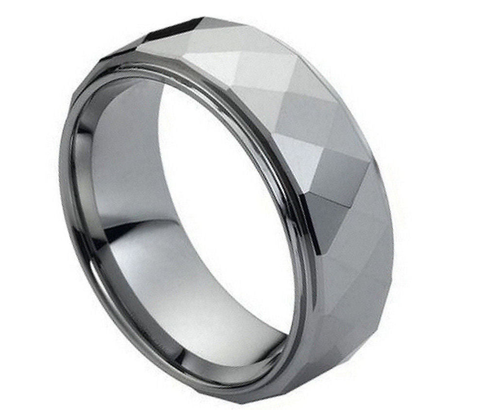 8mm Tungsten Wedding Band Domed Faceted Ring with Stepped Edge