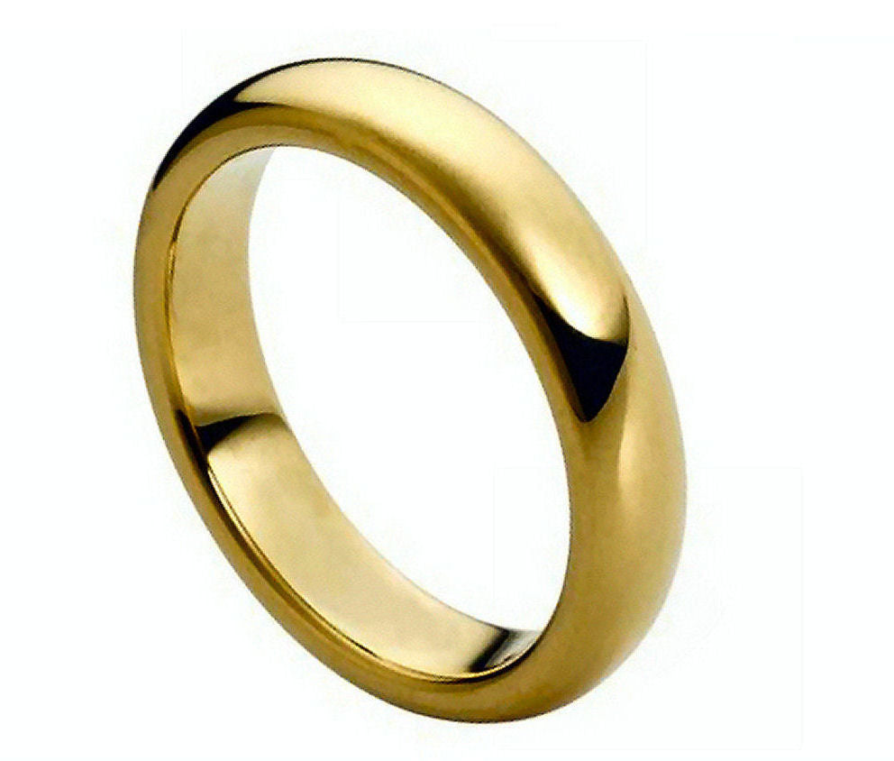 5mm Tungsten Ring Domed Gold-Plated Polished Shiny