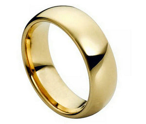 7mm Tungsten Ring Domed Gold-Plated Polished Shiny