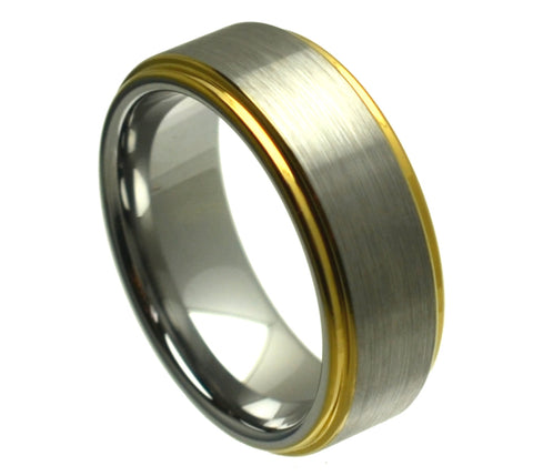 8mm Tungsten Carbide Wedding Band Ring with Yellow Gold Plated Edge