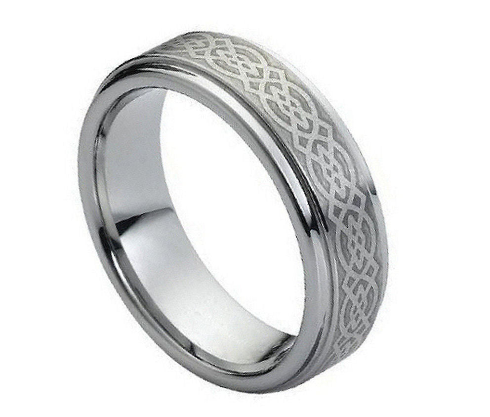 7mm Tungsten Ring Brushed Laser Engraved Celtic Knot Pattern