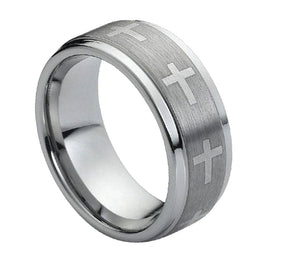 9mm Flat Tungsten Ring Laser Engraved Crosses on Brushed Center