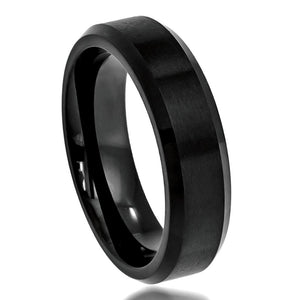 6mm Flat Black Tungsten Ring High Polish Beveled Edge Brushed Center
