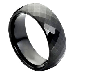 8mm Black Enameled Faceted Tungsten Wedding Band Domed Ring