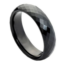 6mm Black Enameled Faceted Tungsten Wedding Band Domed Ring