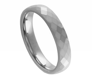 4mm Tungsten Wedding Band Faceted Domed Shaped Ring