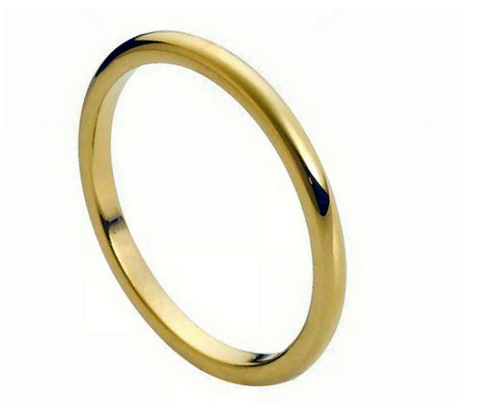 2mm Yellow Gold Tungsten Ring High Polish Thin Band