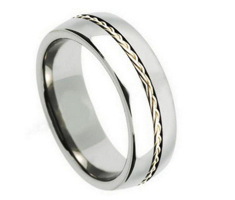 8mm Tungsten Ring Grooved with Braided Sterling Silver Insert