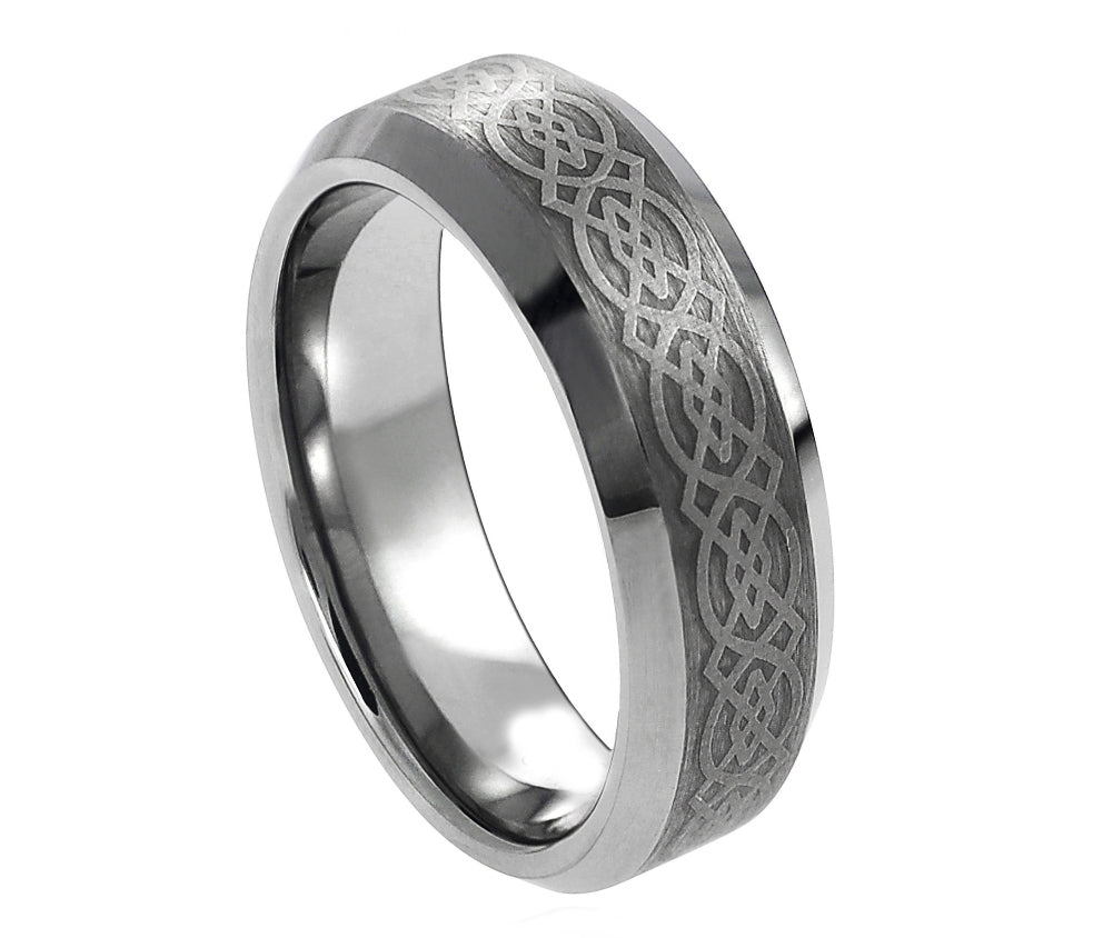 6mm Tungsten Ring with Laser Engraved Celtic Pattern