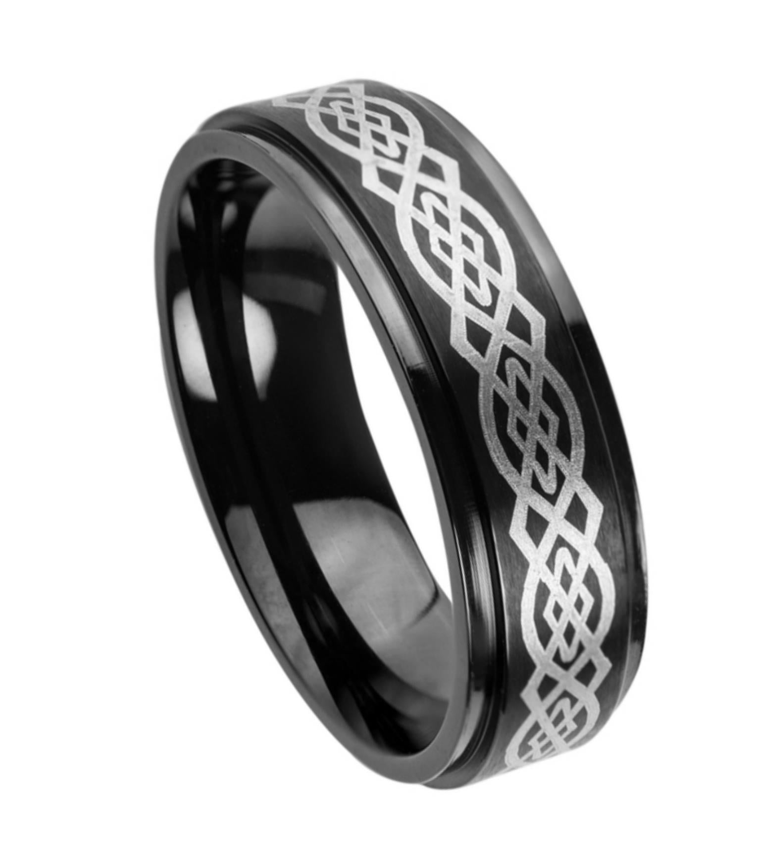 7mm Black Tungsten Ring with Laser Engraved Celtic Pattern