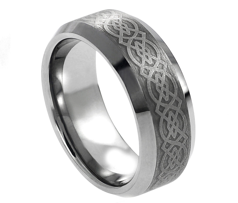 8mm Tungsten Ring with Laser Engraved Celtic Pattern