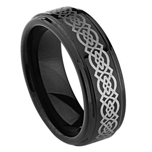 9mm Black Enamel Plated Tungsten Ring with  Laser Engraved Celtic Knot Pattern