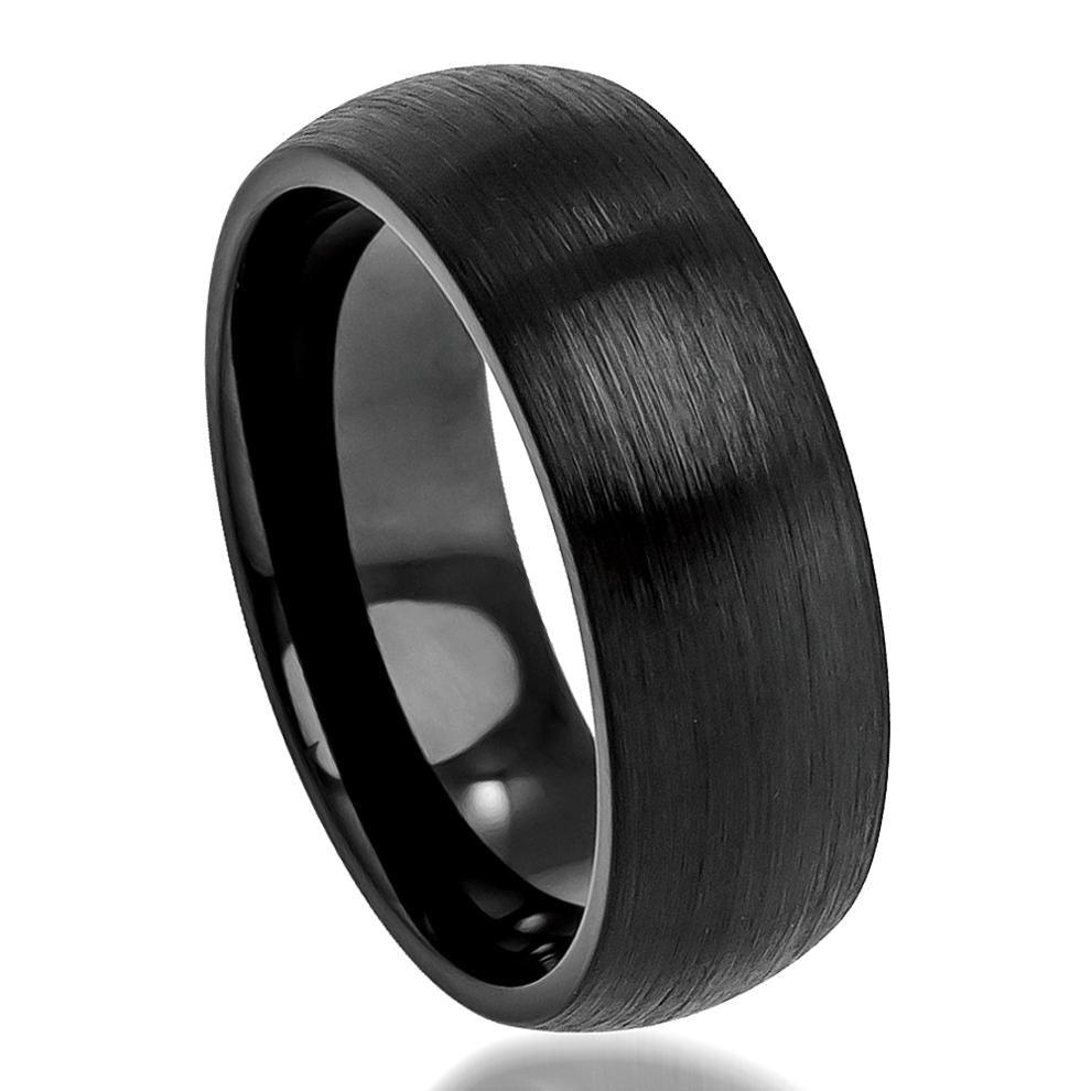 8mm Tungsten Wedding Ring Brushed Black Enamel Plated Classic Domed Band