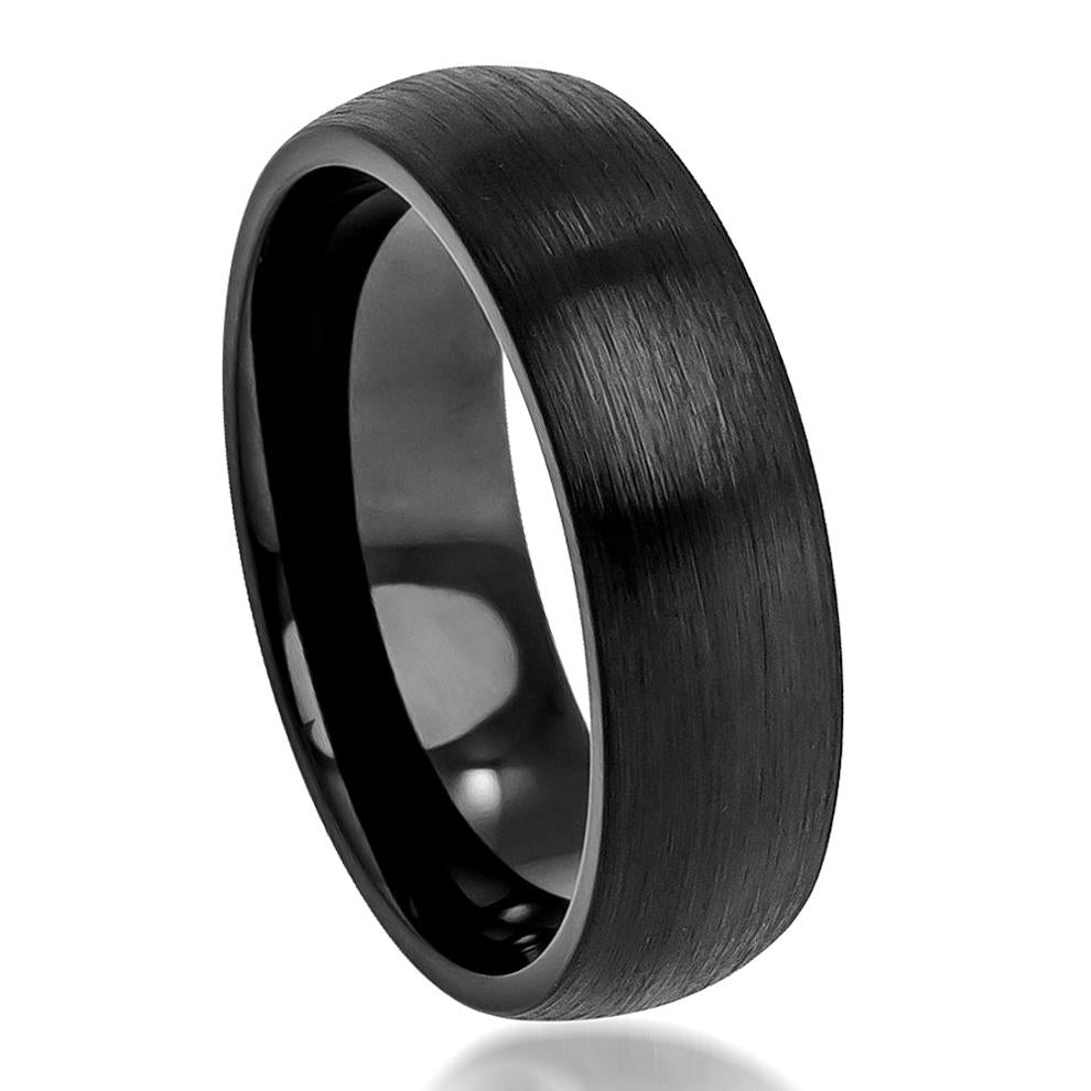 6mm Tungsten Wedding Ring Brushed Black Enamel Plated Classic Domed Band