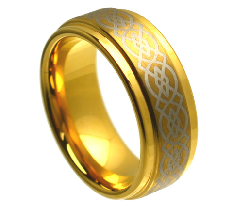 8mm Gold IP Tungsten Ring with Laser Engraved Celtic Knot Pattern