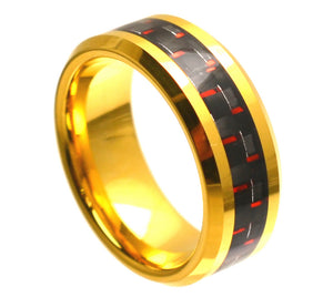 8mm Yellow Gold Tungsten Ring Beveled Edge with Red & Black Carbon Fiber Inlay