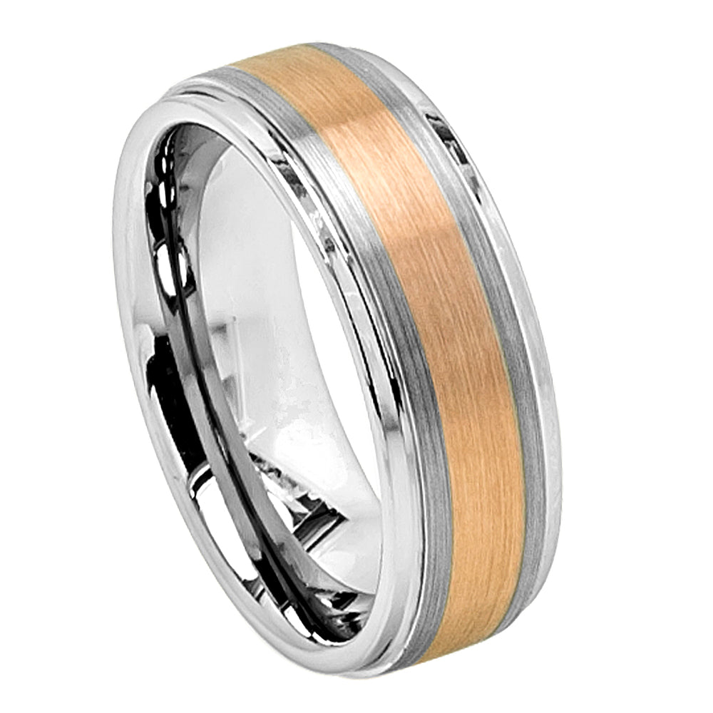 Tungsten Band Copper Tone IP Plated Flat Brushed Center with High Polish Stepped Edge