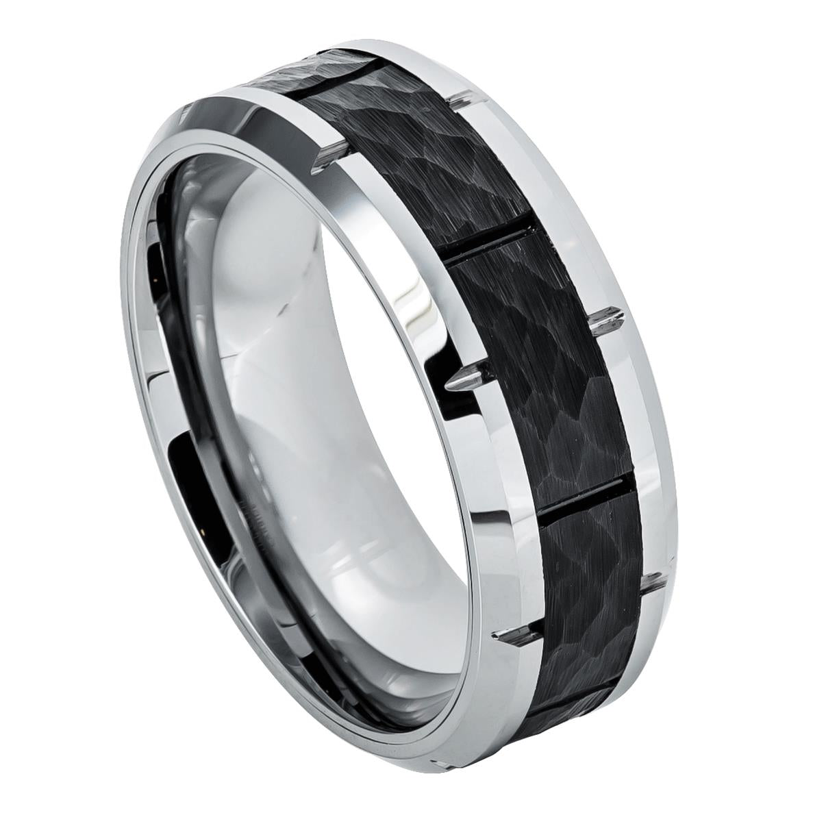 Tungsten Carbide Ring with Black IP Hammered Finish