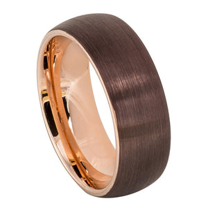 Brown IP Plated Tungsten Wedding Ring Semi-Domed Brushed Band