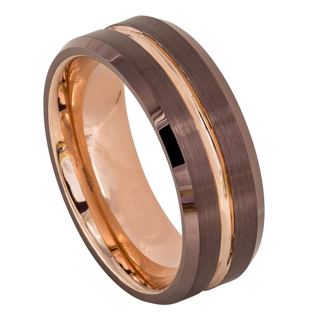 Brown IP Plated Tungsten Wedding Ring with Rose Gold IP Plated Grooved Center & Inside