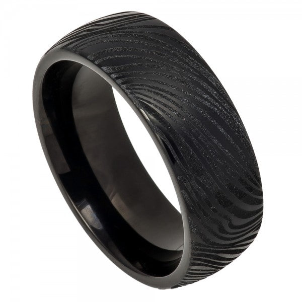 8mm Tungsten Ring Black IP Plated Semi-Dome Laser Carved Mokume Gane EFFECT