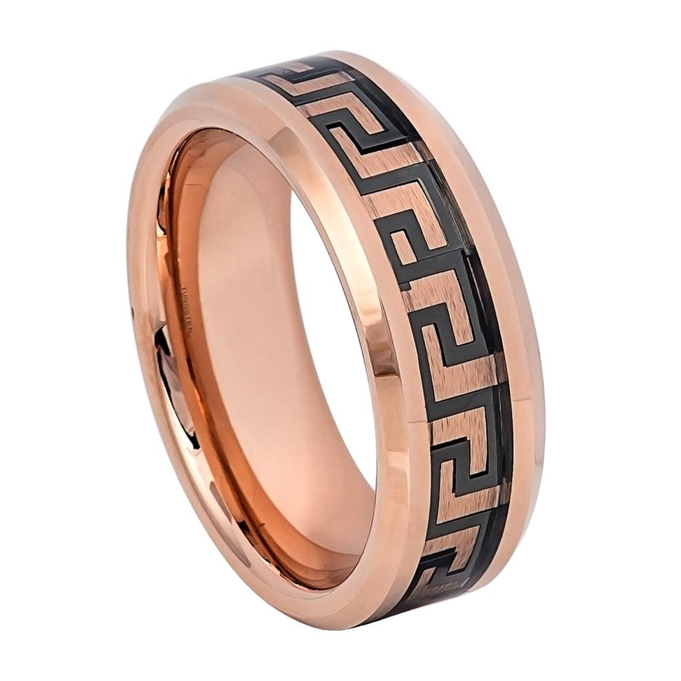 8mm Rose Gold IP Tungsten Ring with Greek Key Inlay