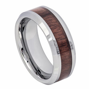 8mm Tungsten Carbide Ring High Polished with Mahogany Wood Inlay