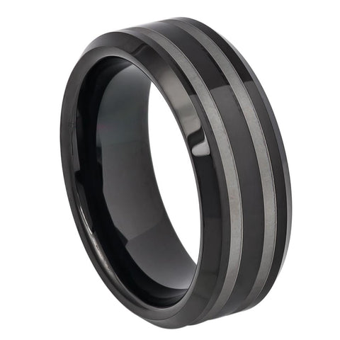 8mm Black Tungsten Carbide Wedding Band Ring Double Line Laser Engraved