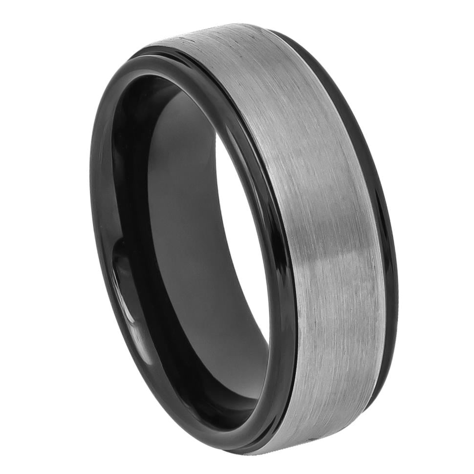 8mm Men's Tungsten Carbide Wedding Band Ring with Gun Metal Brushed Center