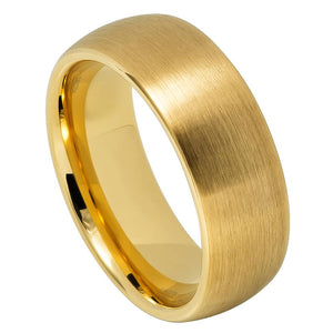 8mm Yellow Gold IP Plated Tungsten Wedding Band Brushed Domed Classic Style