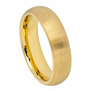 6mm Yellow Gold IP Plated Tungsten Wedding Band Brushed Domed Classic Style