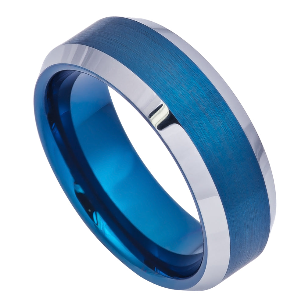 8mm Tungsten Ring Blue IP Brushed Center High Polish Beveled Edge