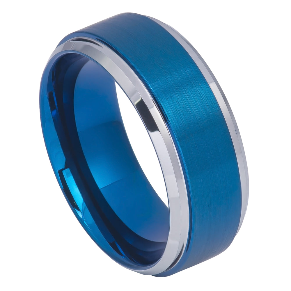 9mm Tungsten Ring Blue IP Brushed Center High Polish Stepped/Beveled Edge