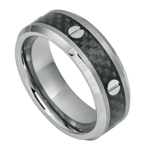 8mm Tungsten Band with Screw Accents over Black Carbon Fiber Inlay