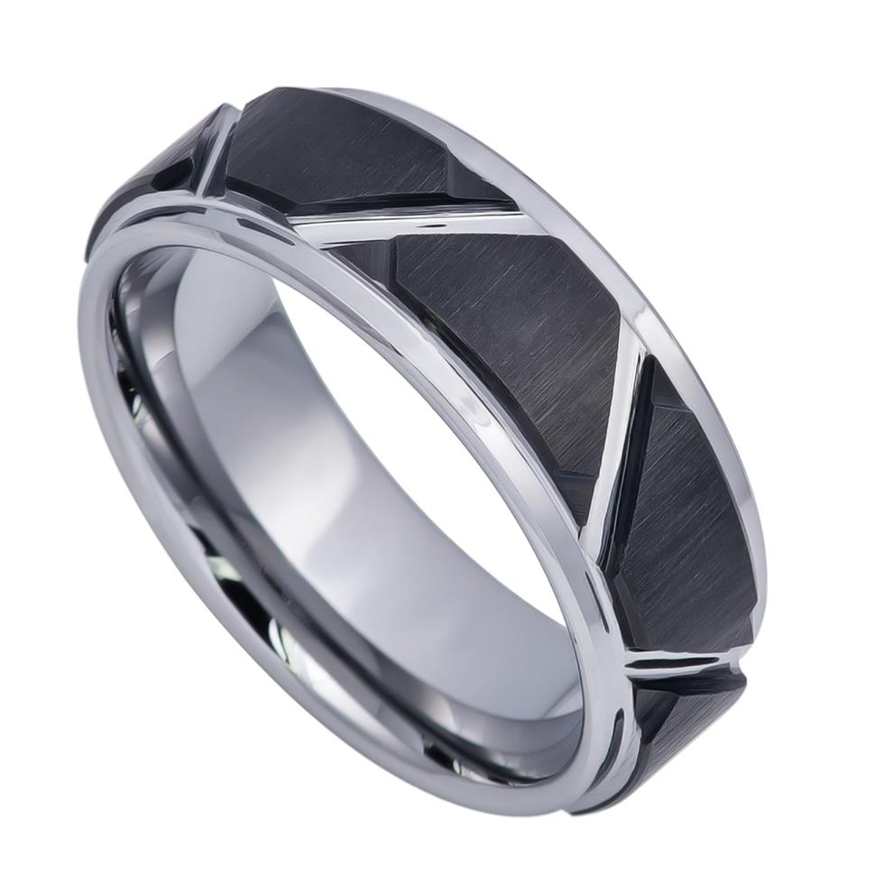 8mm Tungsten Ring Black IP Plated Trapezoids Design Center