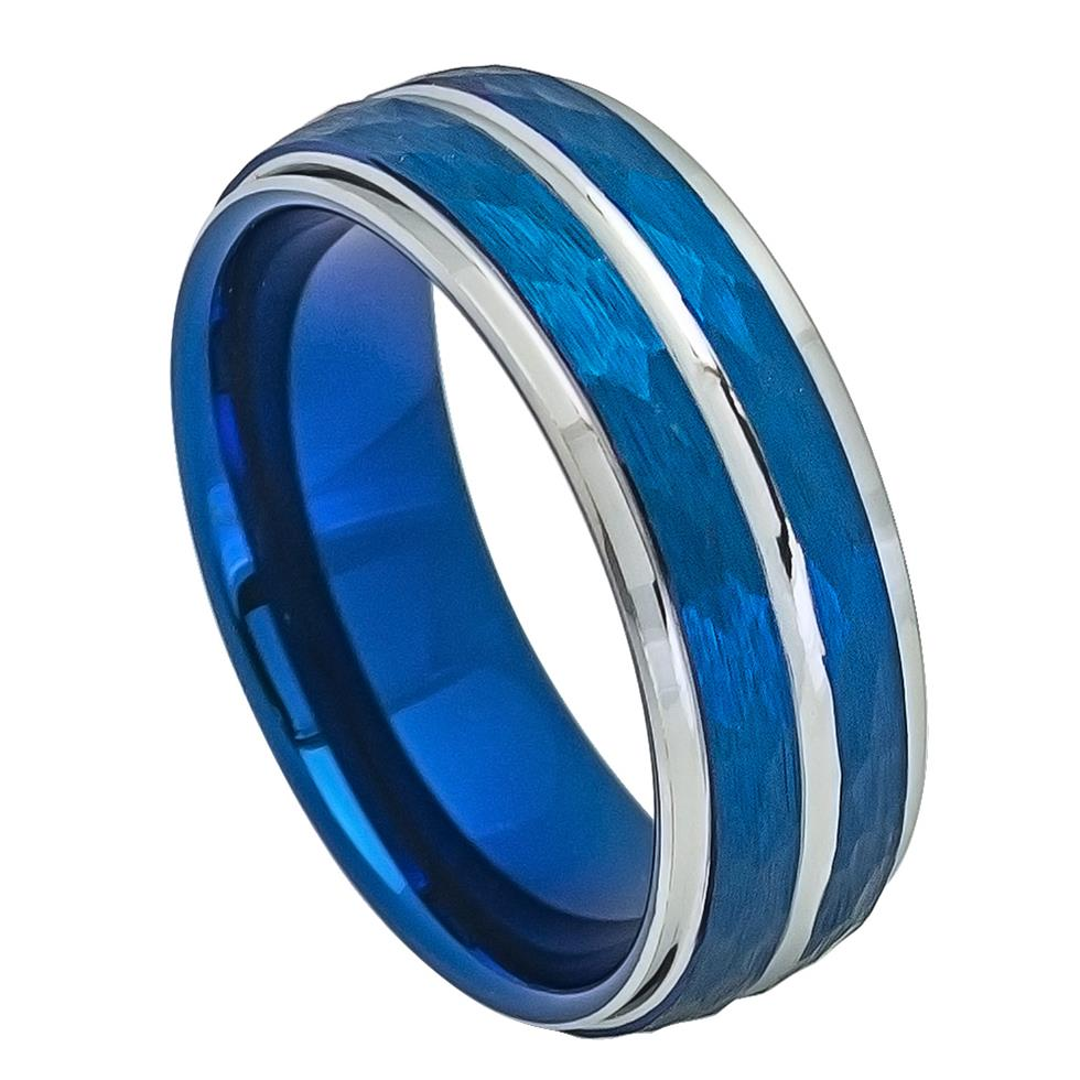 8mm Tungsten Ring Blue IP Plated Hammered Finish High Polished Stepped/Beveled Edge