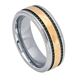 8mm Tungsten Ring Yellow Gold IP Hammered Center with Black IP Plated Stripes