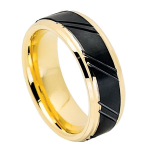 Gold IP Ring, tungsten ring