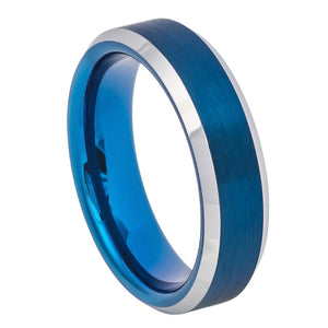 6mm Tungsten Ring Blue IP Brushed Center High Polish Beveled Edge