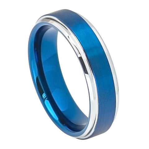 6mm Tungsten Ring Blue IP Brushed Center High Polish Stepped/Beveled Edge