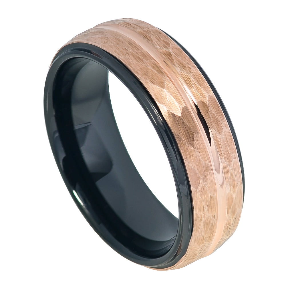 8mm Tungsten Ring Black IP Inside & Rose Gold IP Hammered Finish with Center Groove Stepped Edge