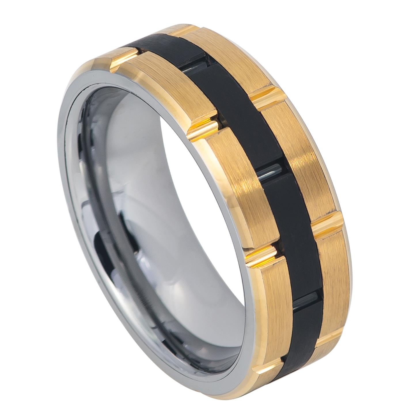 8mm Tungsten Ring Yellow Gold IP Plated Sides Grooved Black IP Center