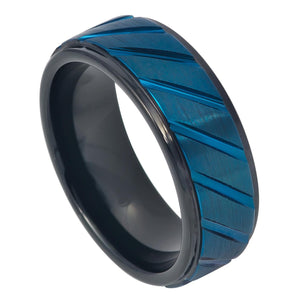 8mm Tungsten Wedding Ring Prussian Blue IP Plated Diagonally Grooved Center