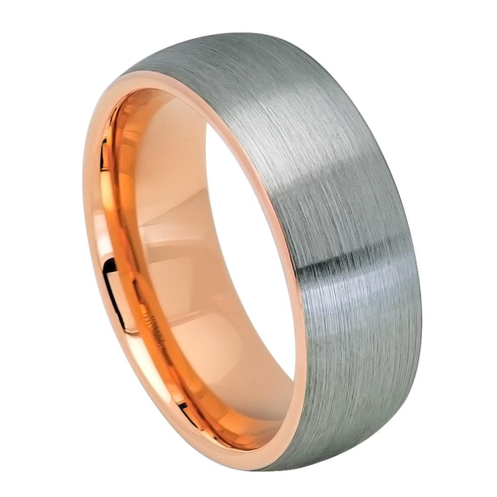 8mm Tungsten Carbide Ring Domed Rose Gold IP Plated Inside & Gun Metal Brushed Center